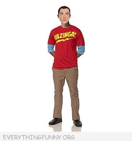 funny shledon cooper costume big bang theory bazinga shirt and sheldon face mask