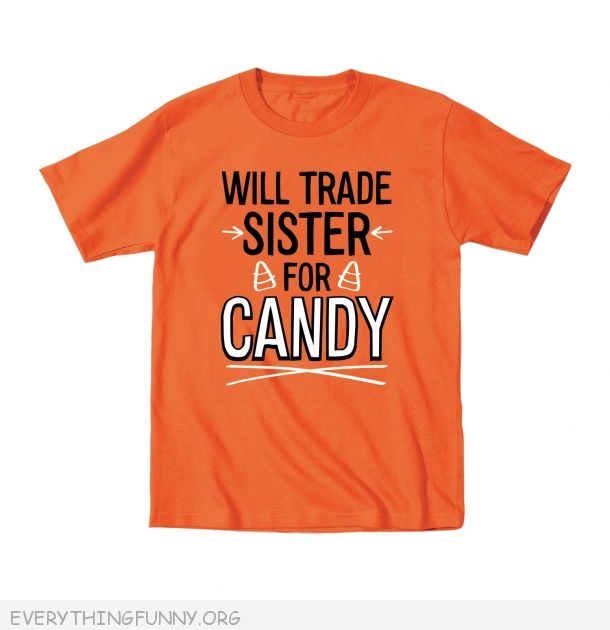 funny halloween kids shirts will trade sister for candy tshirt t shirt