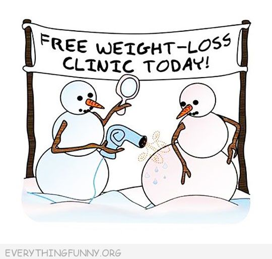 funny cartoon snowman weight loss clinic blow drier