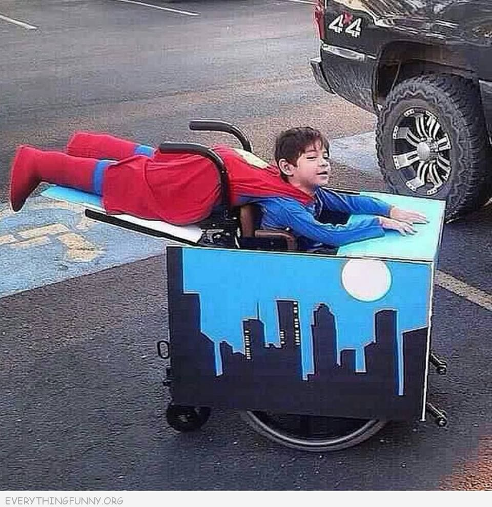 funny costumes boy in wheelchair dressed as superman flying cool costume