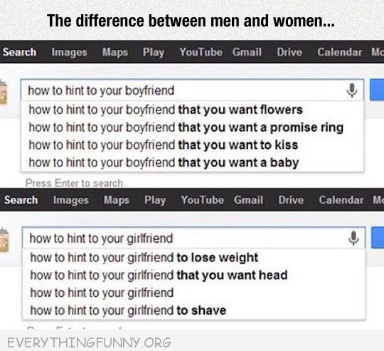 funny google search difference between men and women how to hint to your