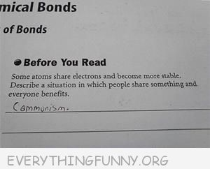 funny test answers describe a situation where everyone shares and everyone benefits communism