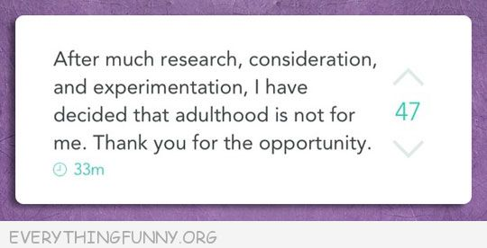 funny facebook status after much research i have decided that adulthood is not for me