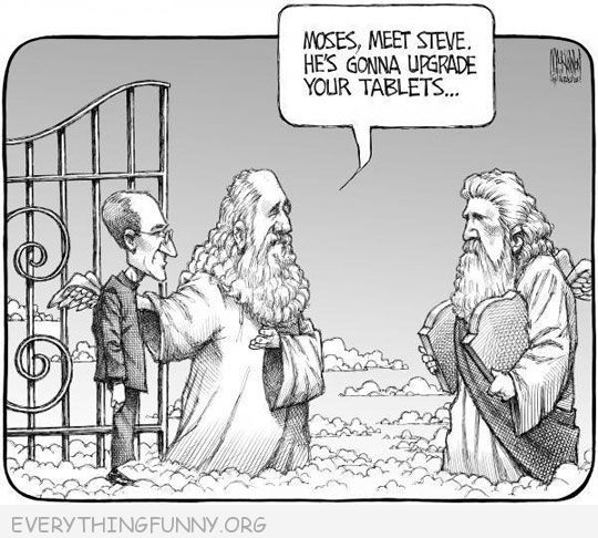 funny cartoon steve jobs in heaven moses he's going to update your tablets