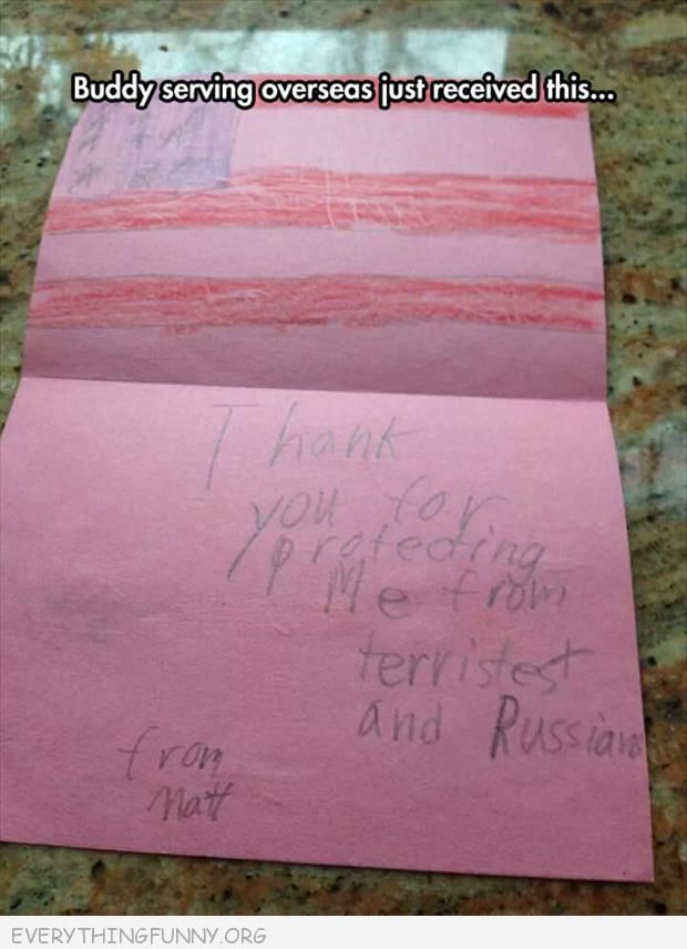 funny notes letter to soldier thank you for protecting us from terrorists and russians