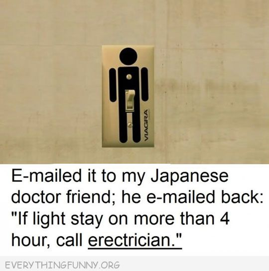 funny email to japanese friend response if light stay on more than 4 hour call erectician