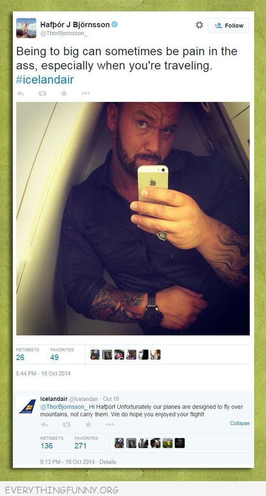 funny twitter big guy small plane response we fly over mountains not carry them