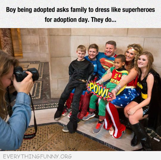 funny adopted boy asks new family to dress as superheroes
