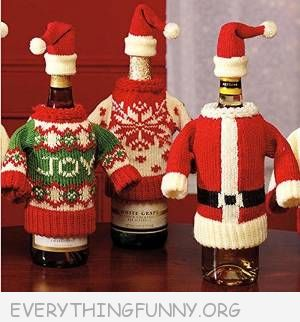funnyugly christmas sweater wine bottle covers