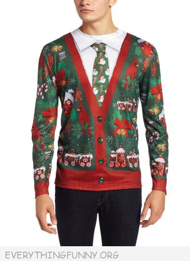 funny ugly christmas sweaters cardigan and tie