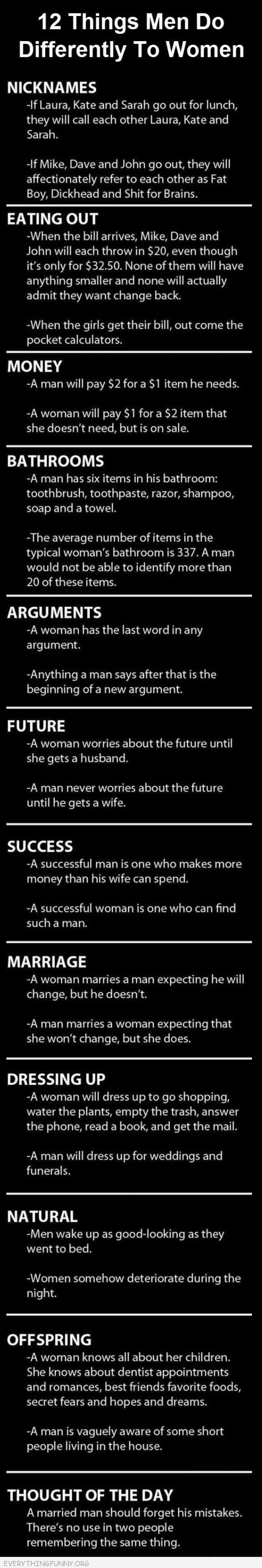 funny quotes 12 Things Men Do Differently Then Women