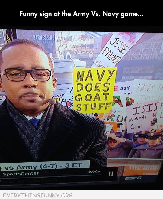 funny signs billboards navy does goat stuff army navy game