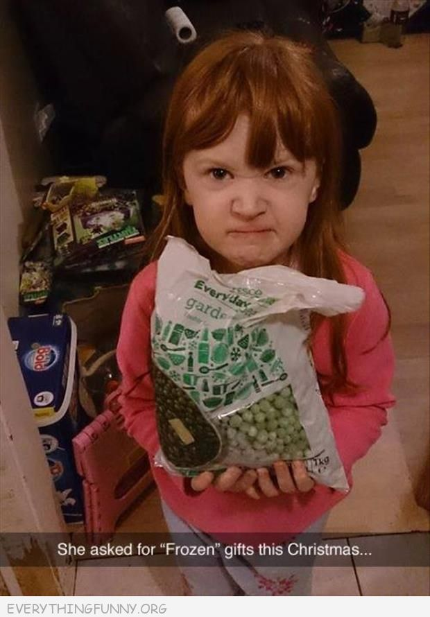 funny pranks little girl asks for frozen gifts given frozen peas