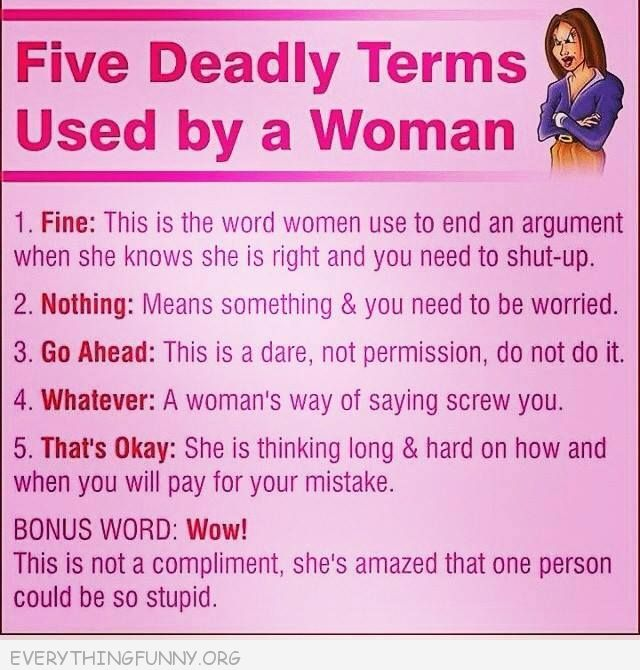 funny quotes five deadly terms used by a woman