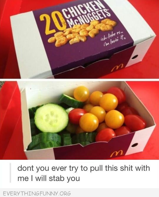 funny replacing chicken nuggets with fresh vegetables prank don't every try to pull this i will stab you