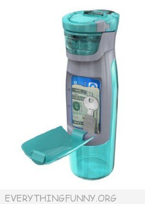 funny water bottle wallet holds money and key