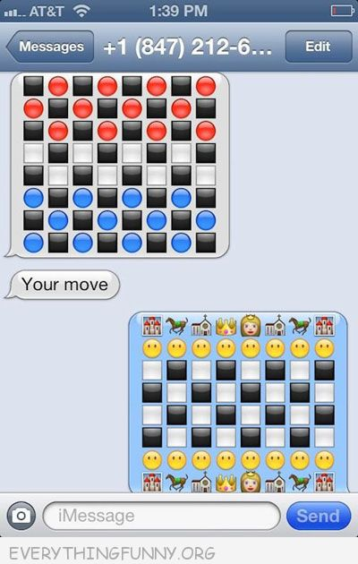 funny text message friend blows other friend away with emoticons real chess board
