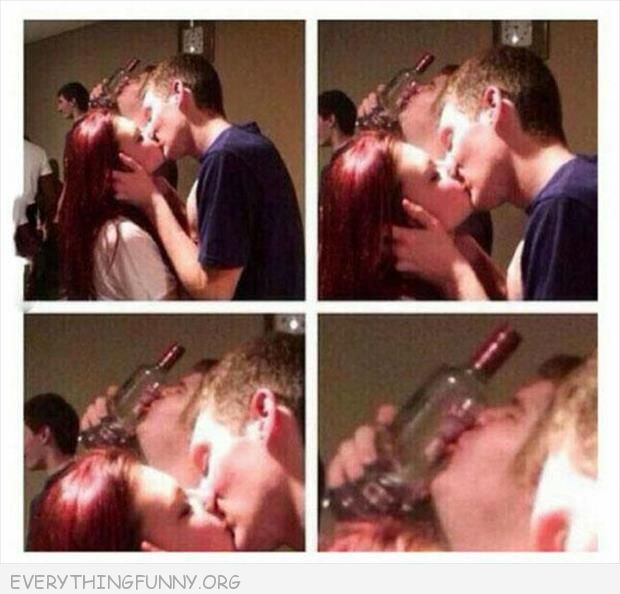 funny photo couple kissing man kissing bottle in background