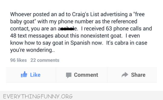 funny status whoever postd a ad on craigs list about free baby goat