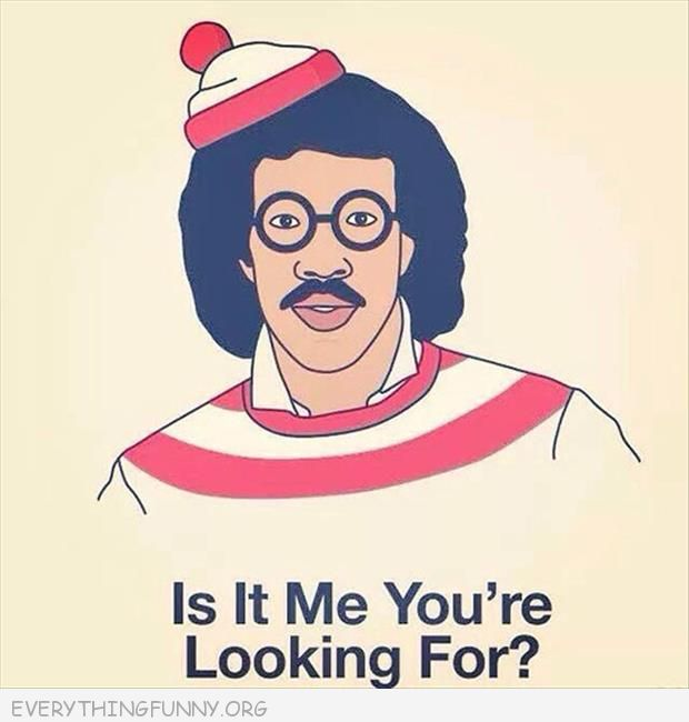 funny cartoon lionel richie dressed as waldo is it me you're looking for