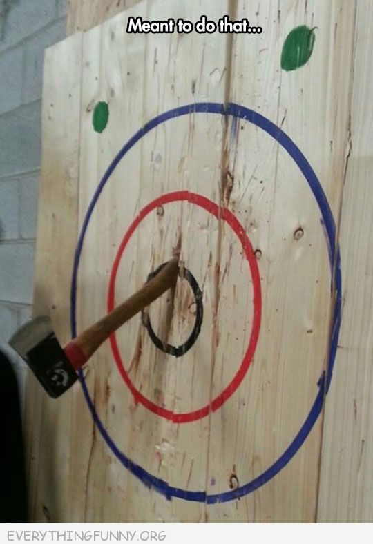 funny axe target landed handle in i meant to do that