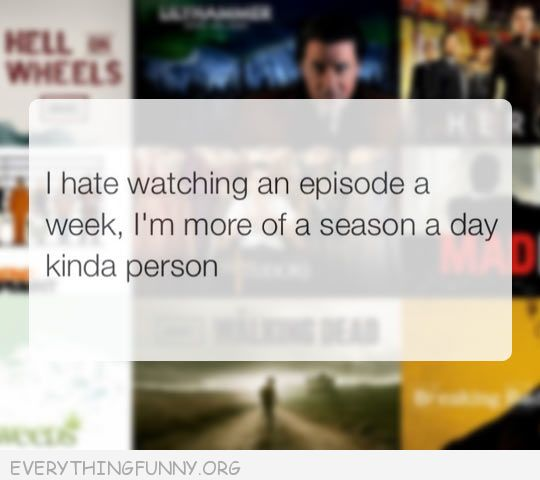 funny quote i hate watching an episode a week  i'm more of a season a day kind of person