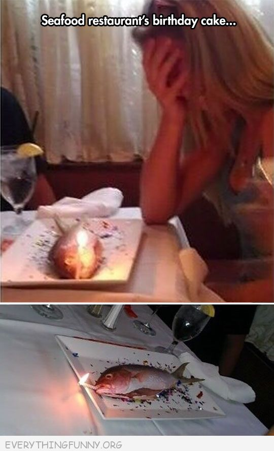 funnyseafood restaurant birthday cake s fish with candle
