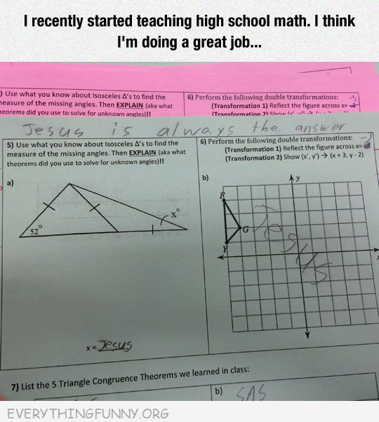 funny test answer Jesus the answer is always Jesus hard math problem