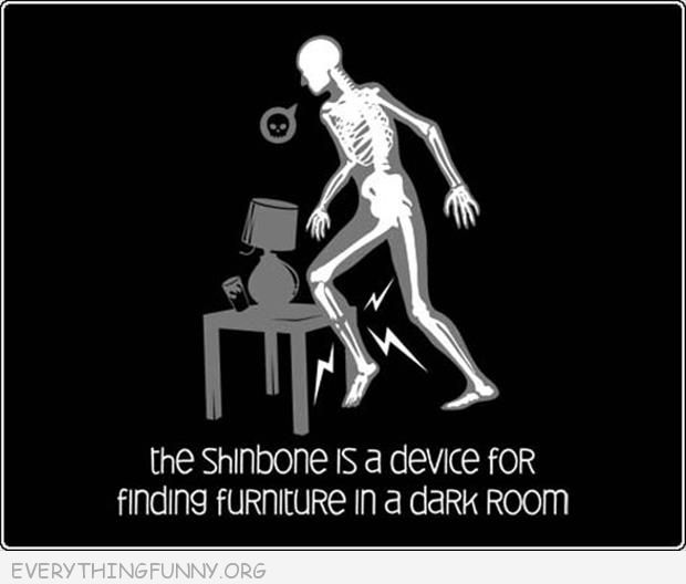 funny cartoon shinbone is a device for finding furniture in the dark