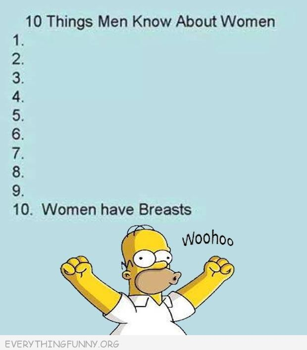 funny cartoon simpsons comic  10 things men know about women women have breast home woo hoo
