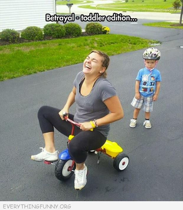 funny photo mom steals kids trike tricycle betrayal toddler edition