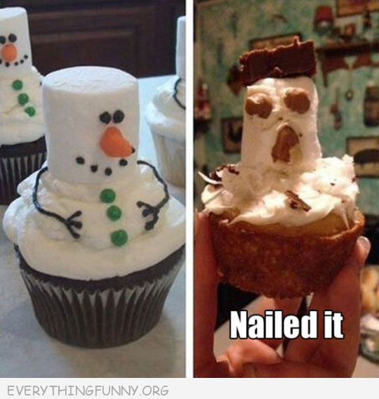 funny nailed it marshmallow snowman nailed it