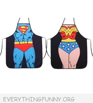 funny superhero aprons wonder woman superman
