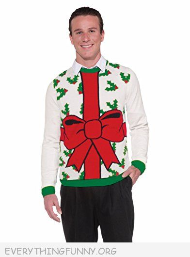funny ugly christmas sweater huge bow party