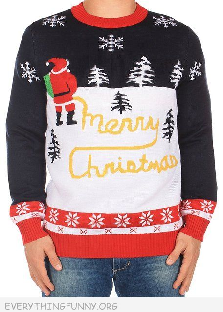funny ugly christmas sweater santa peeing merry christmas