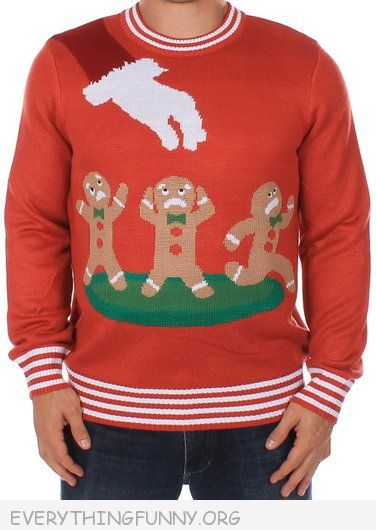 funny ugly christmas sweater gingerbread men being picked up by santa