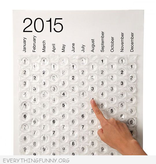 funny gifts and gadgets bubble wrap calendar