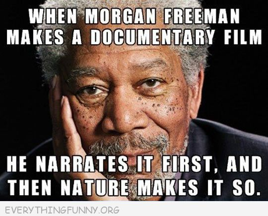 funny caption when morgan freeman makes a documentary first he narrates it and then nature makes it happen