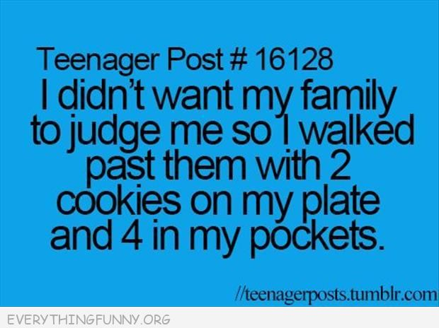 funny quotes i don't want my family to judge me so i walk past them with 2 cookies on plate and 4 in my pockets