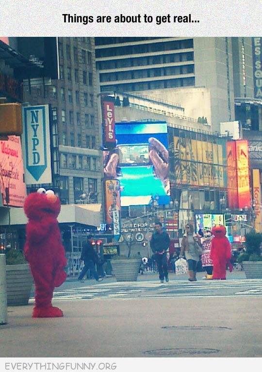 funny two elmos come face to face in new york guys in elmo costume about to get real