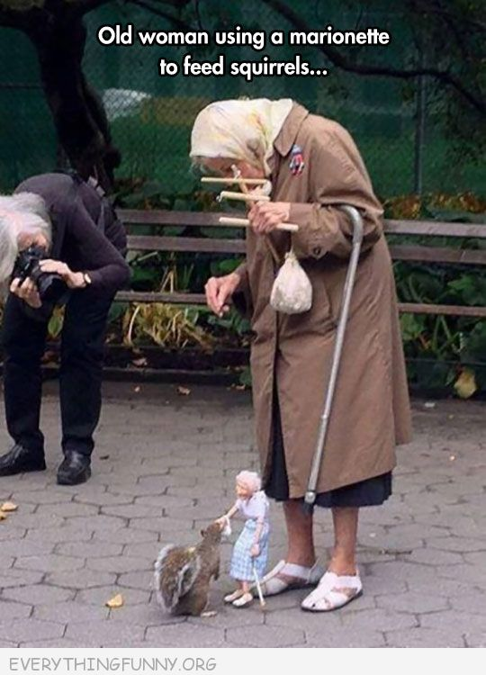 funy capiton old woman feed squirrels with marionette doll