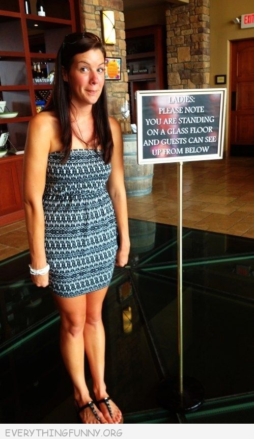 funny sign warning ladies you are standing on glass floor and guests can see up from below