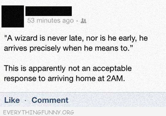 funny facebook wizard is never late nor is he early arrives precisely when he needs to appareantly doesn't work arriving home at 2am
