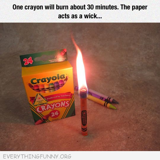 funny using crayon as a candle