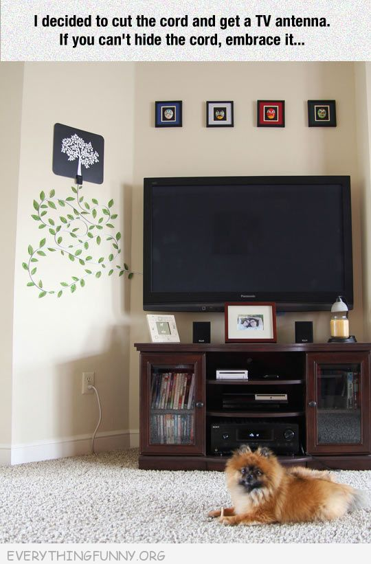 funny creative way to hide cords turn into tree decor on wall