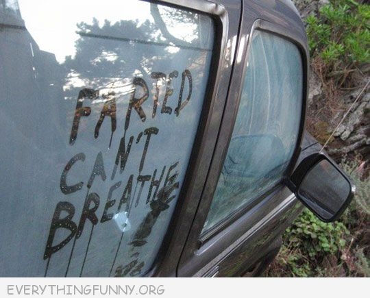 funny note in steamed car farted can't breathe