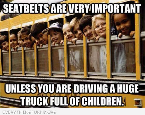 funny caption seatbelts are very important unless you are driving a truck full of children