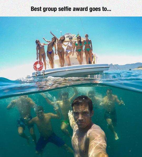 funny best selfie ever boys under water girls on boat