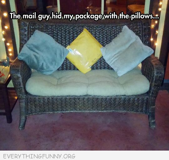 funny caption postal worker delivery puts package to look like pillow on couch clever