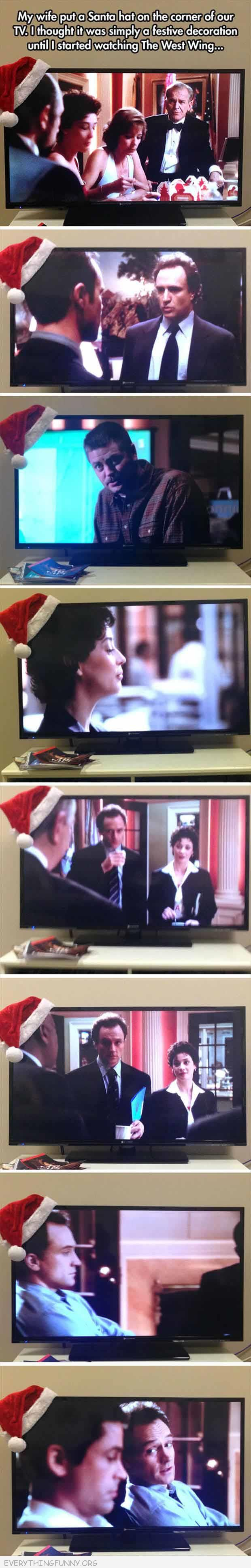 funny wie put santa hat corner tv funnier than you would think